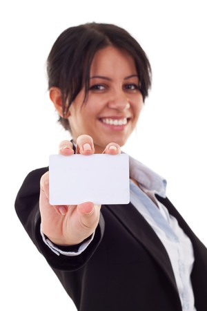 businesswoman card: Business card closeup - business woman in black suit holding blank empty sign.  Stock Photo