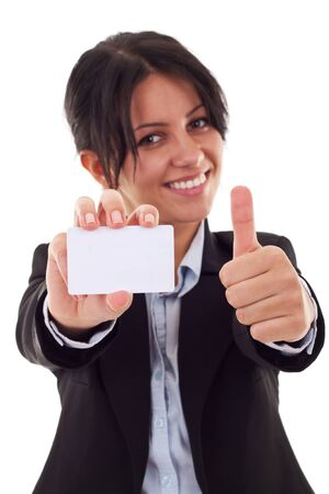 card making: Female holding blank business card, making ok sign , focus on hands and card  Stock Photo