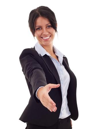 saludo de manos: mujer de negocios encantadora con una mano abierta lista para su apret�n de manos