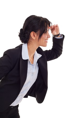 picture of a young business woman looking forward over white  Stock Photo - 7735798