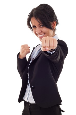 girl punch: business woman on white getting into a fight  Stock Photo