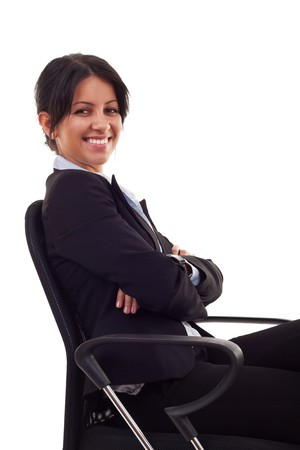 business woman sitting on office chair over white Stock Photo - 7735829