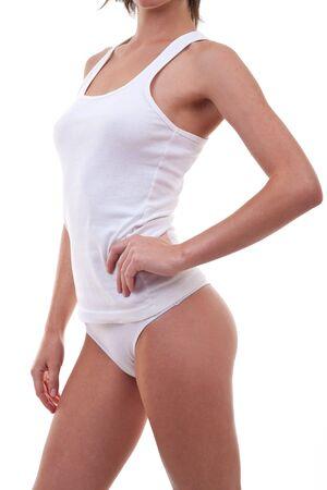 cintura perfecta: Cuerpo femenino perfecto aislado sobre fondo blanco