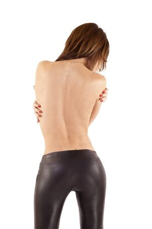 blouse: back picture of an attractive woman wearing leather pants