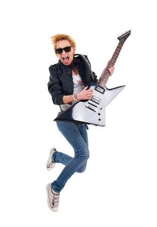 picture of a passionate woman guitarist jumping over white Stock Photo - 7870186