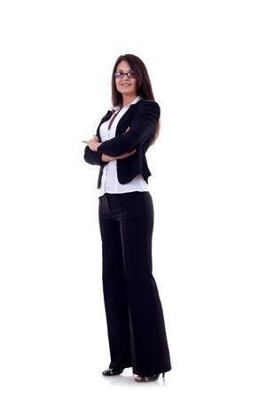 Beautiful full body business woman portrait isolated on white  Stock Photo - 7870223