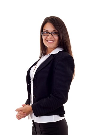 chearful: Portrait of smiling business woman, isolated on white