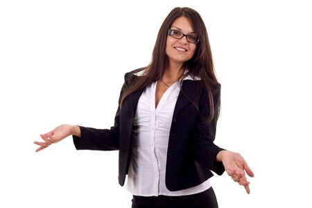 Friendly smiling business woman. Isolated over white background Stock Photo - 7870275