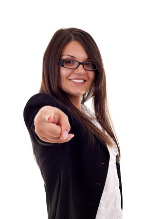 young beautiful business woman pointing on you on white background  photo