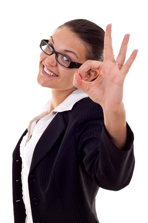 Attractive business woman satisfied with results - ok sign Stock Photo - 7870419