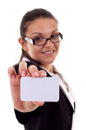 Attractive Business woman Closeup - presenting her business card Stock Photo - 7870354