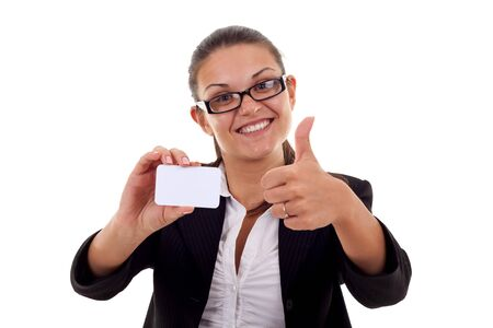 card making: Female holding blank business card, making ok sign