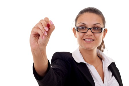 Business woman writing something with a  marker or pen Stock Photo - 7870280