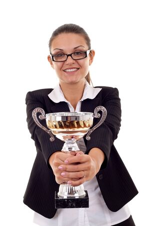 picture of a business woman handing out a gold trophy over white photo