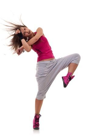ejercicio aer�bico: elegante joven bailando la danza del ballet moderno, con un movimiento de headbanging