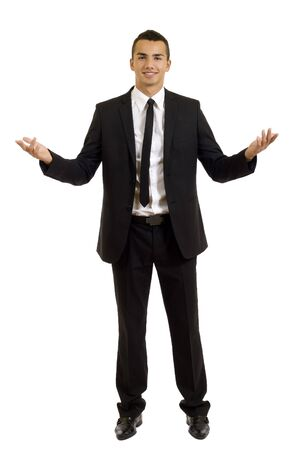 welcoming: Approachable young business man with open arms isolated Stock Photo