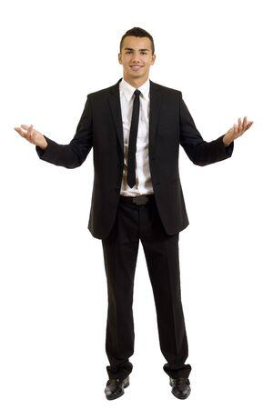 male arm: Hombre de negocios de j�venes accesible con los brazos abiertos aislado