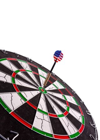 perfect aim made by a dart with american flag photo