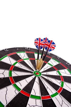 three ideal hits in red point by darts with english flag Stock Photo - 7934818