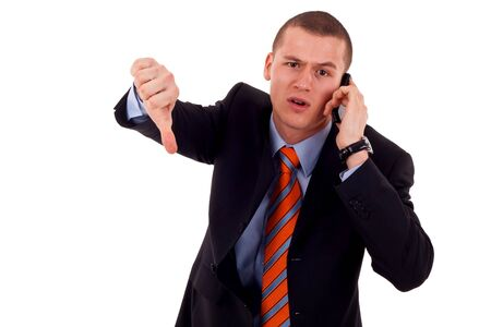 Business man with bad news on his cell phone disapproving Stock Photo - 7939026