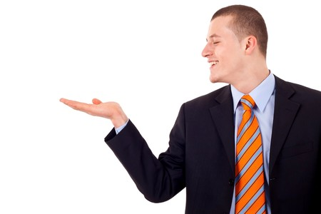 Young man showing something on his hand over white Stock Photo - 7939046