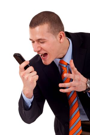 A caucasian male yelling at the cellphone over white photo