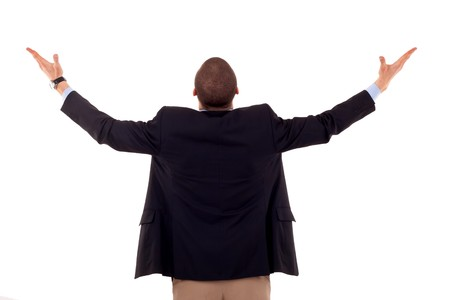 business man back praying with his arms up  photo