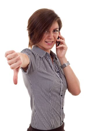 business woman with thumb down gesture and mobile phone  photo