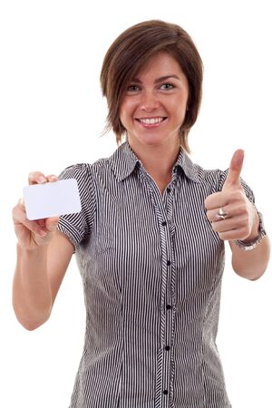 Female holding blank business card, making ok sign , focus on hands and card  photo