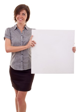 Portrait of a beautiful business woman holding a blank billboard.  Stock Photo - 7939079