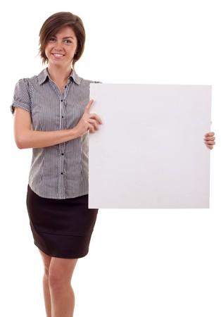 Portrait of a beautiful business woman holding a blank billboard. Stock Photo - 7939079