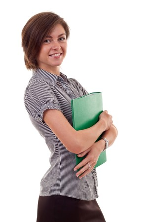 Portrait of smiling busy business woman with folder, isolated on white  Stock Photo - 7939095