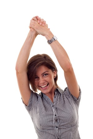 Closeup portrait of an excited young business woman rejoicing success with hands raised  photo