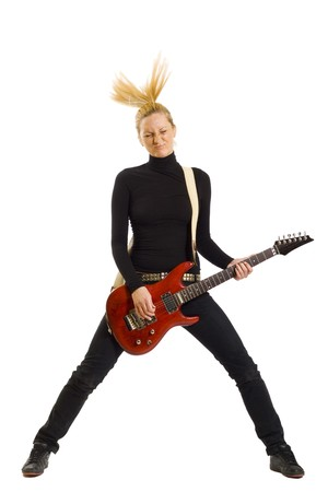 headbanging rock girl , playing on a white background photo