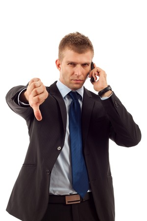 disapproving: Uomo d'affari con le cattive notizie sulla sua disapprovazione cellulare