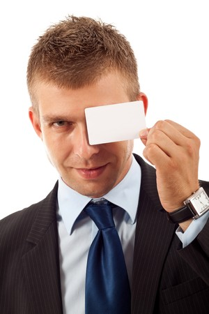 businesscard: Businesscard On a young business mans Eye