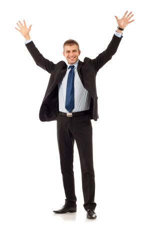 glorify: Happy young business man on white background  Stock Photo