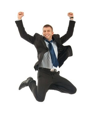 Businessman jumping and celebrating isolated on a white background  Stock Photo - 8041649
