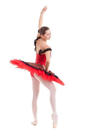 picture of a pretty ballerina posing in a red tutu