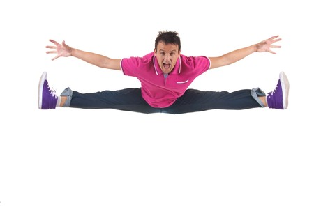 picture of a modern style dancer jumping and screaming Stock Photo - 8043109