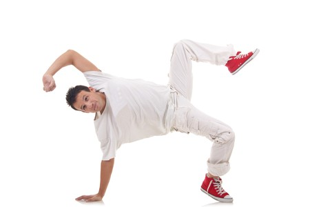 aerobica: cool looking break dancer posing on a isolated background