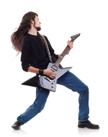 passionate guitarist playing his electric guitar over white photo