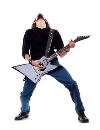 rocker: musician plays the guitar. man on a white background  Stock Photo