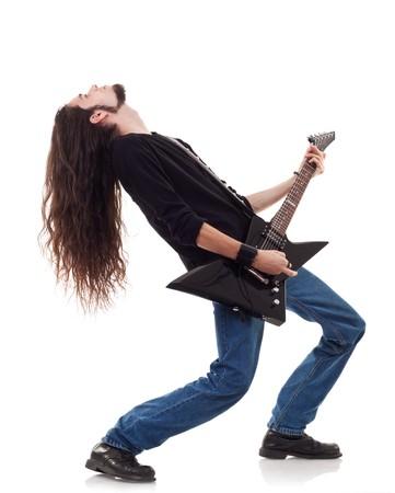 star of life: Jugador de guitarra tocando su guitarra inclinado hacia atr�s sobre blanco  Foto de archivo