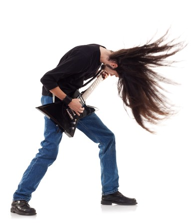 distort: headbanging rocker plays guitar on a white background