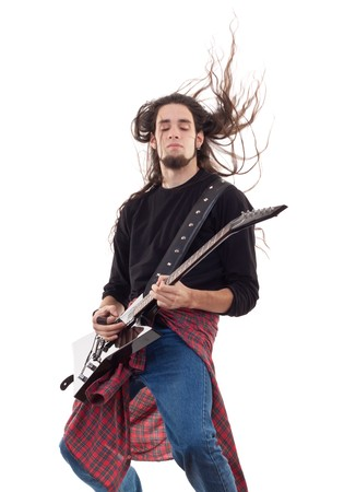 musicos: Hard Rock masculina guitarrista de Heavy Metal tocando el concierto de Guitarra negra