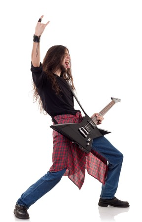 heavy metal: heavy metal guitarist making a rock and roll gesture while screaming and playing