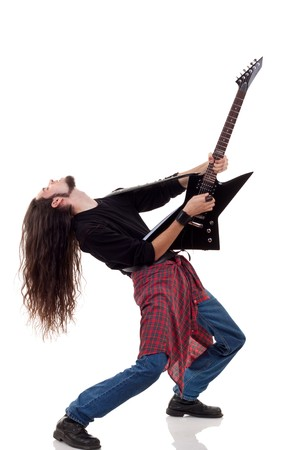 headbang: heavy metal guitarist playing an electric guitar over white