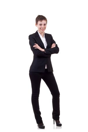 Confident business woman with look of success over white Stock Photo - 8041655