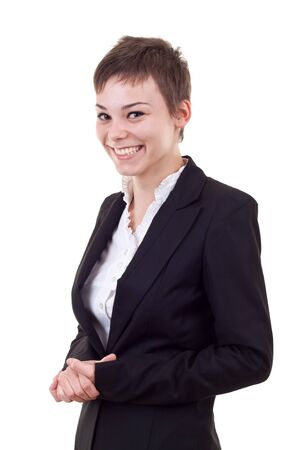 Portrait of a young confident business woman on white background photo